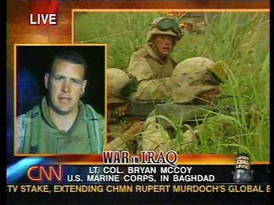 """Live from Baghdad, Lt. Col. Bryan McCoy of the U.S. Marine Corps speaks with Larry King during Wednesday night's """"Larry King Live."""" No distribution in Japan. Please credit CNN in all usage. Photo: HANDOUT"""
