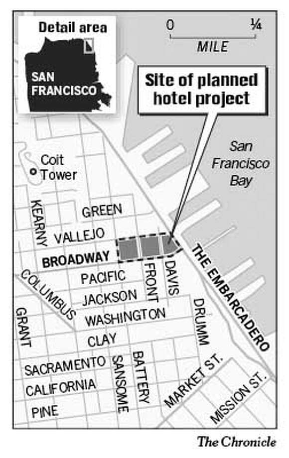Site of Planned Hotel Project. Chronicle Graphic