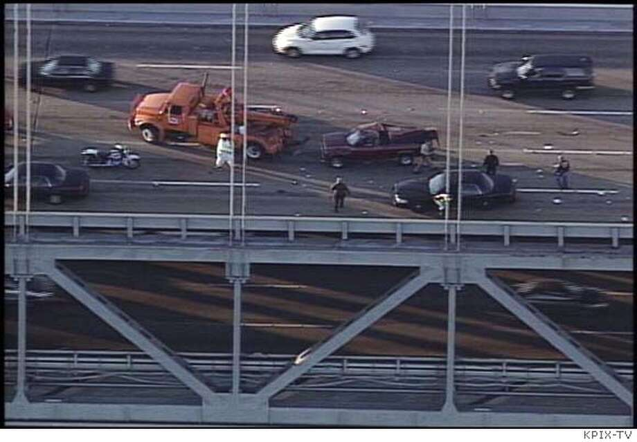 Scene of the accident that occurred after a high-speed chase across the westbound direction of the Bay Bridge on January 17, 2007. CR: KPIX-TV video