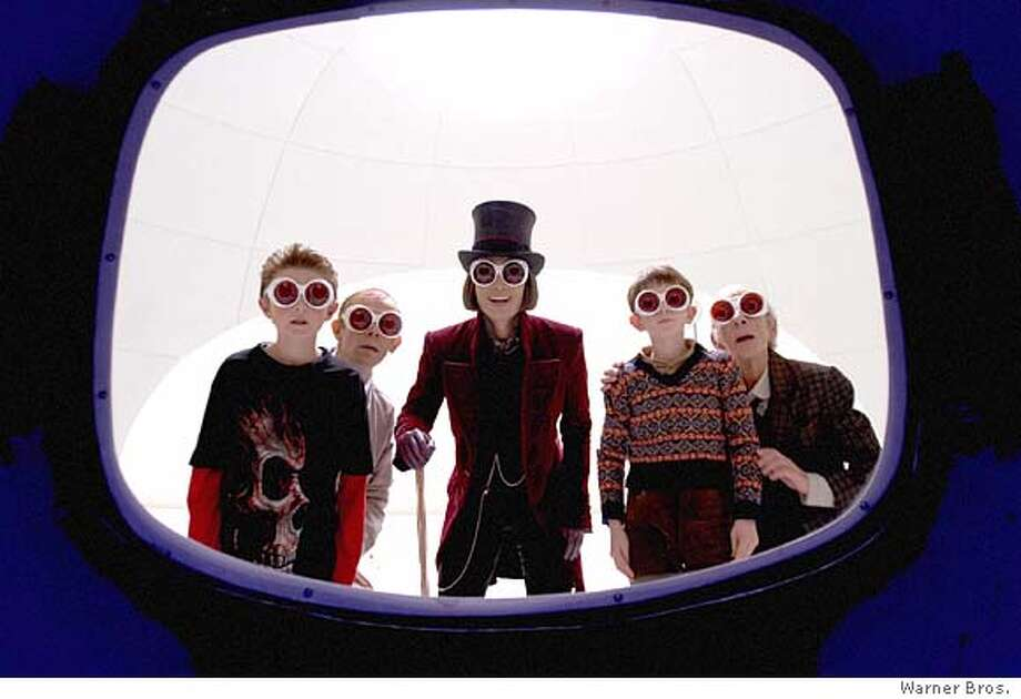 """L-r: JORDAN FRY, ADAM GODLEY, JOHNNY DEPP, FREDDIE HIGHMORE and DAVID KELLY in Warner Bros. Pictures� fantasy adventure �Charlie and the Chocolate.""""  PHOTOGRAPHS TO BE USED SOLELY FOR ADVERTISING, PROMOTION, PUBLICITY OR REVIEWS OF THIS SPECIFIC MOTION PICTURE AND TO REMAIN THE PROPERTY OF THE STUDIO. NOT FOR SALE OR REDISTRIBUTION."""