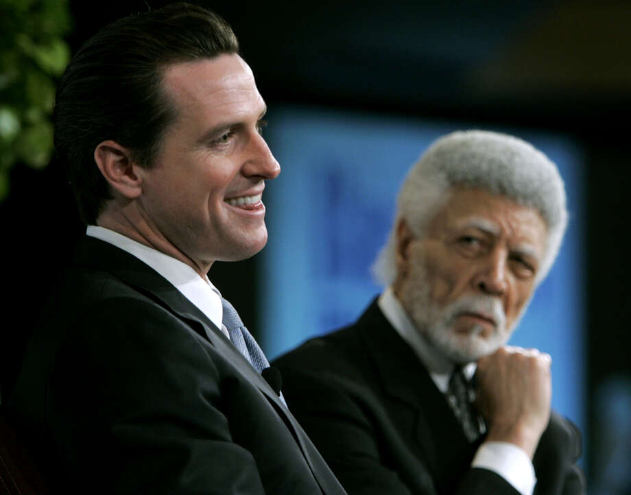 Mayor Gavin Newsom (left) and Oakland Mayor Ron Dellums take part in a Q & A session with 1,200 Bay Area business leaders at the annual Mayors Economic Forecast conference in San Francisco, Calif. on Wednesday, Jan. 17, 2007.  PAUL CHINN/The Chronicle MANDATORY CREDIT FOR PHOTOGRAPHER AND S.F. CHRONICLE/ - MAGS OUT Photo: PAUL CHINN