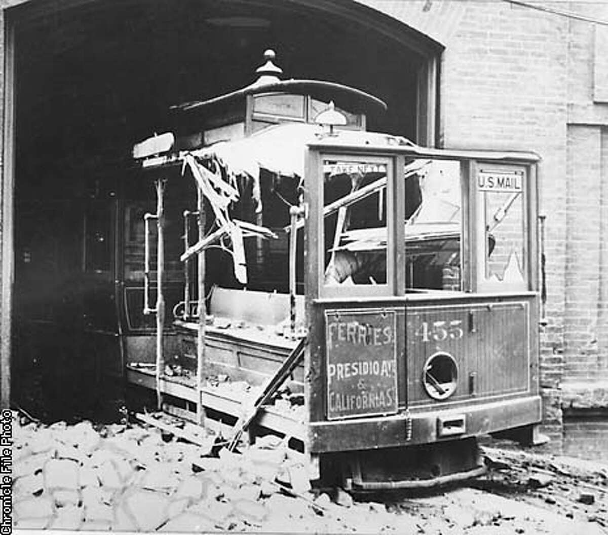 CABLE CAR PHOTOGRAPHED APRIL 18 1906, JUST AFTER AN EARTHQUAKE.