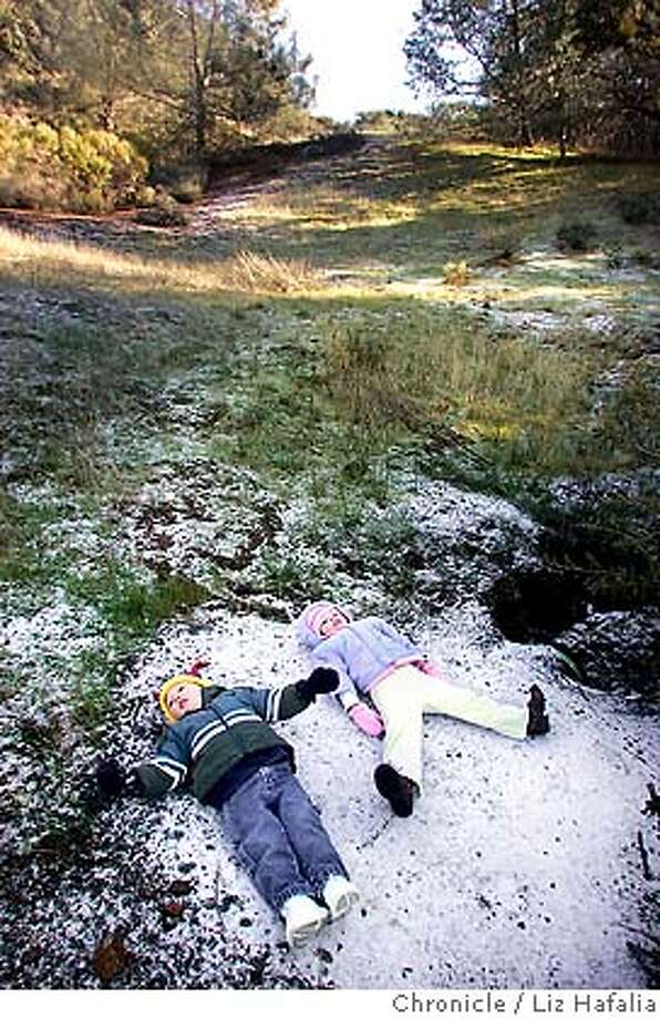 Nolan Martin (left), 2 years old, and Maisie Martin (right), 3 years old, from Clayton trying to make snow angels on Mount Diablo. They haven't been to the snow and were thrilled to see some ice.  cq--Nolan Martin, Maisie Martin  Photographed by Liz Hafalia Photo: Liz Hafalia