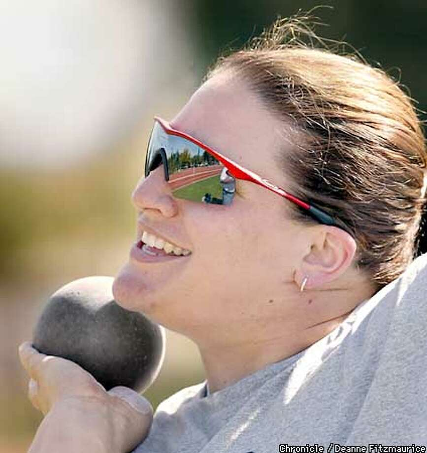 Kristin Heaston practices shot put at Angel Field at Stanford University. She won the U.S. indoor championship in shot put.  CHRONICLE PHOTO BY DEANNE FITZMAURICE Photo: Deanne Fitzmaurice
