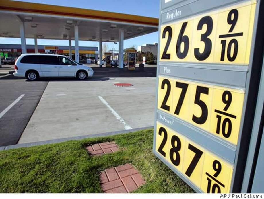 """High gas prices are posted at a Shell gas station in Hayward, Calif., Friday, Jan. 5, 2007. U.S. drivers could start seeing lower prices at the pump as early as this weekend, thanks to the cascading price of crude oil and a seasonal dip in gasoline, analysts say. A gallon of regular unleaded gasoline costs an average of $2.325 across the country, according to the AAA. """"That's probably going to be the highest price you pay in January,"""" Oil Price Information Service analyst Tom Kloza said. """"We're going to get a nice little energy price dividend in January: If you're buying heating oil, you're going to pay a lot less than last year, and we're definitely going to be paying less for gasoline than we did in December."""" (AP Photo/Paul Sakuma) Photo: PAUL SAKUMA"""