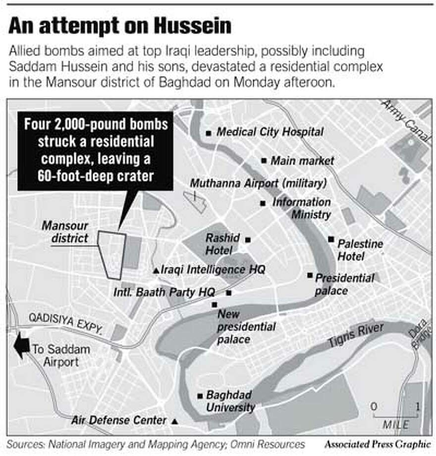 An Attempt on Hussein. Associated Press Graphic