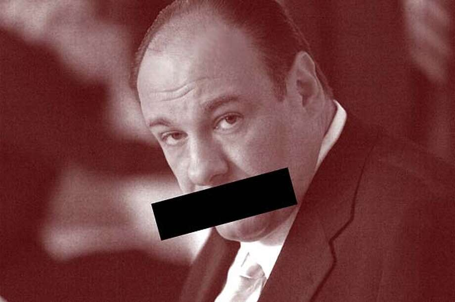 "James Gandolfini of ""The Sopranos"" in a photo illustration for Tim Goodman's column on silliness of taking shows like Sopranos, Sex and the City etc and putting edited versions of them on TV. Photo illustration: Erick Wong / The Chronicle.  Photo: Barry Wetcher / HBO Photo: Ho"