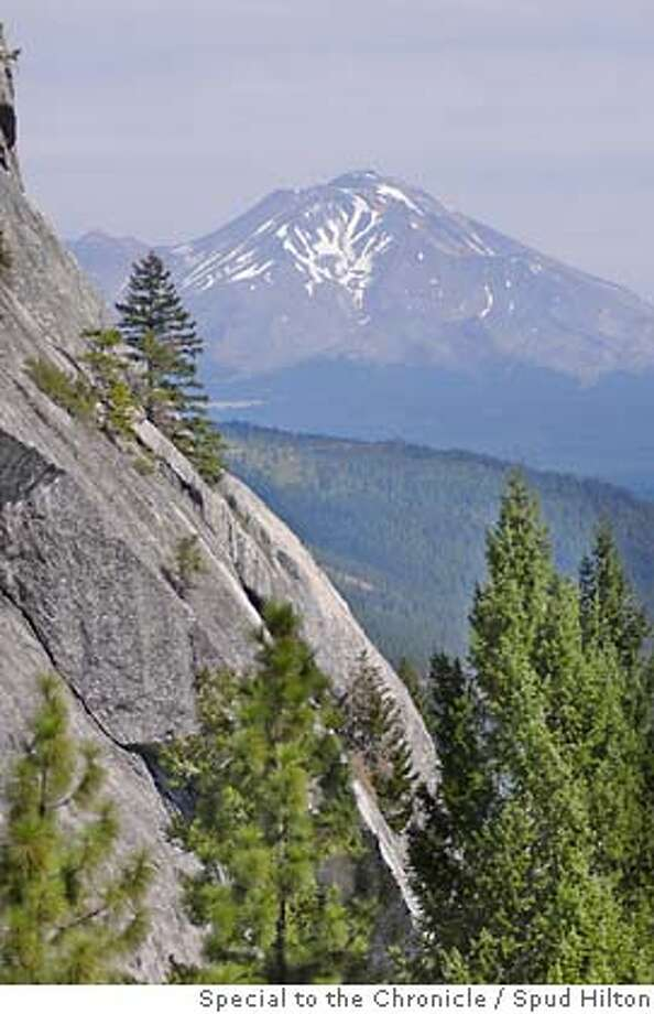 Mount Shasta in the distance, as seen from the Crags Trail in Castle Crags State Park near Dunsmuir.  Dunsmuir on 9/8/05.  Spud Hilton / The Chronicle  Ran on: 06-18-2006  Mount Shasta, as seen from Castle Crags State Park, has a deep snowpack this year, to the advantage of climbers.  Ran on: 06-18-2006 Ran on: 06-18-2006 Ran on: 06-18-2006 Photo: Spud Hilton