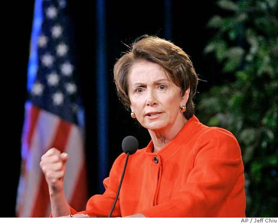 Speaker of the House Nancy Pelosi speaks at the Dr. Martin Luther King Jr. Civic Committee's 22nd Annual Labor and Community Breakfast at the Hilton Hotel in San Francisco, Monday, Jan. 15, 2007. (AP Photo/Jeff Chiu) Photo: Jeff Chiu