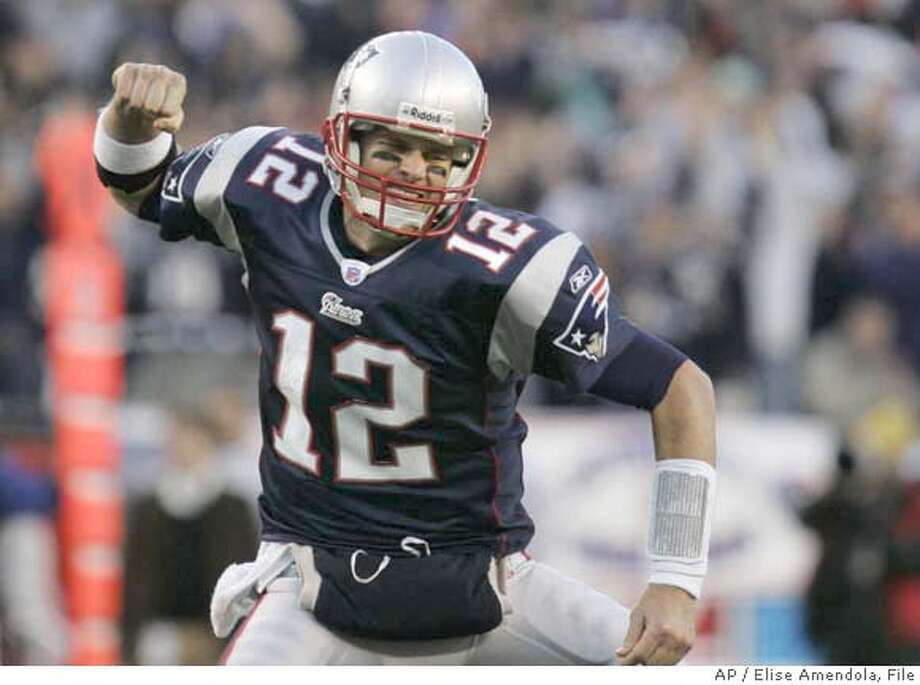 New England Patriots quarterback Tom Brady celebrates his fourth-quarter touchdown pass to Kevin Faulk during his team's 37-16 win over the New York Jets in an AFC wild-card playoff football game in Foxborough, Mass., Sunday, Jan. 7, 2007. (AP Photo/Elise Amendola) Photo: Elise Amendola