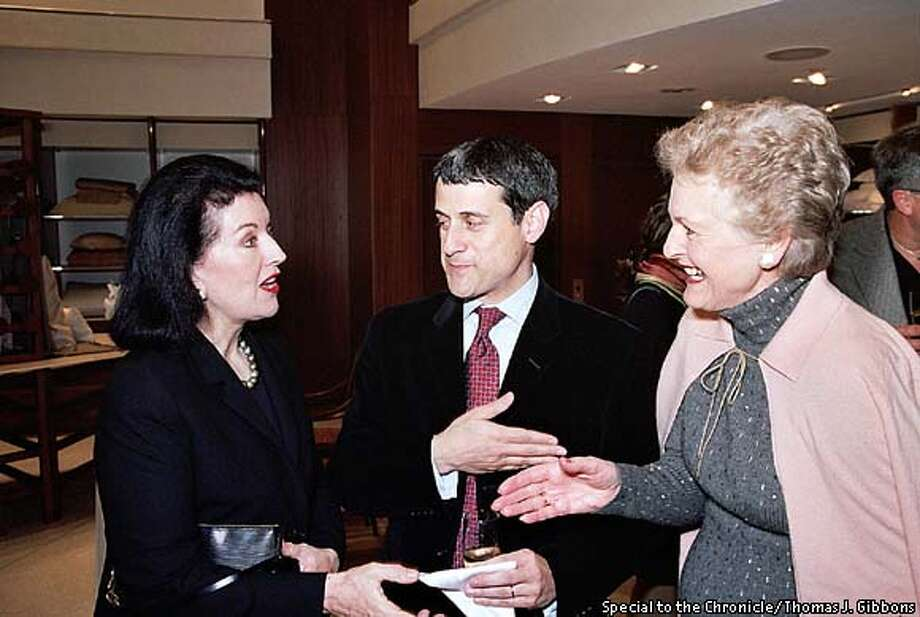 THIS IS A HANDOUT IMAGE. PLEASE VERIFY RIGHTS. Diane Dorrans Saeks, Joseph Rosa and Helen Hilton Raiser at Frette  Photo: Special to the Chronicle/ Thomas J. Gibbons  HANDOUT PHOTO/VERIFY RIGHTS AND USEAGE Photo: HANDOUT
