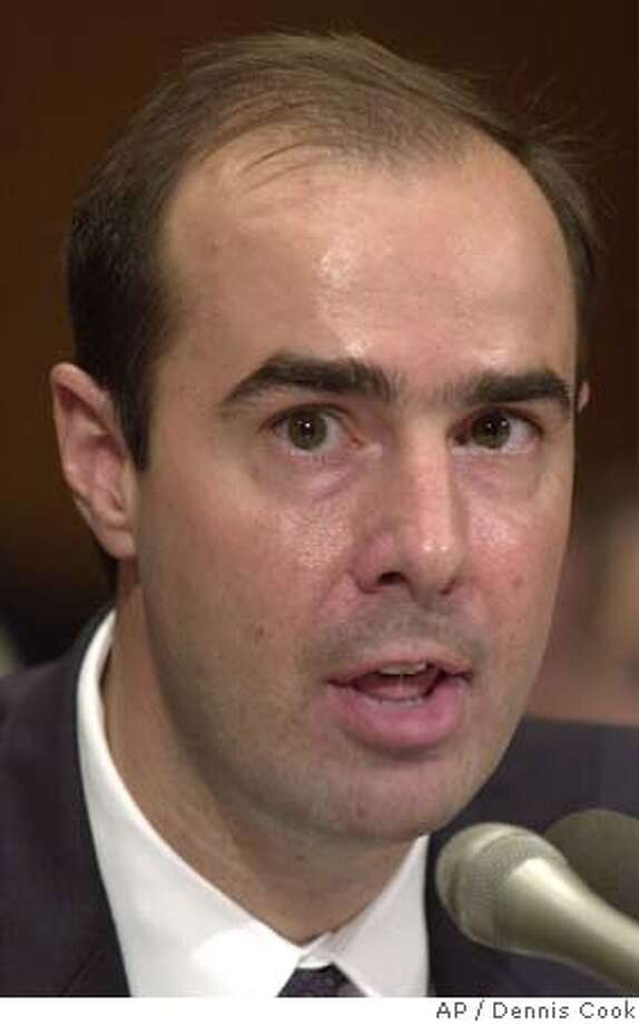 Eugene Scalia appears before the Senate Health, Education, Labor and Pensions Committee on Capitol Hill Tuesday, Sept. 2, 2001. The committee is considering his nomination to be solicitor for the Department of Labor. (AP Photo/Dennis Cook) DIGITAL IMAGE Photo: DENNIS COOK