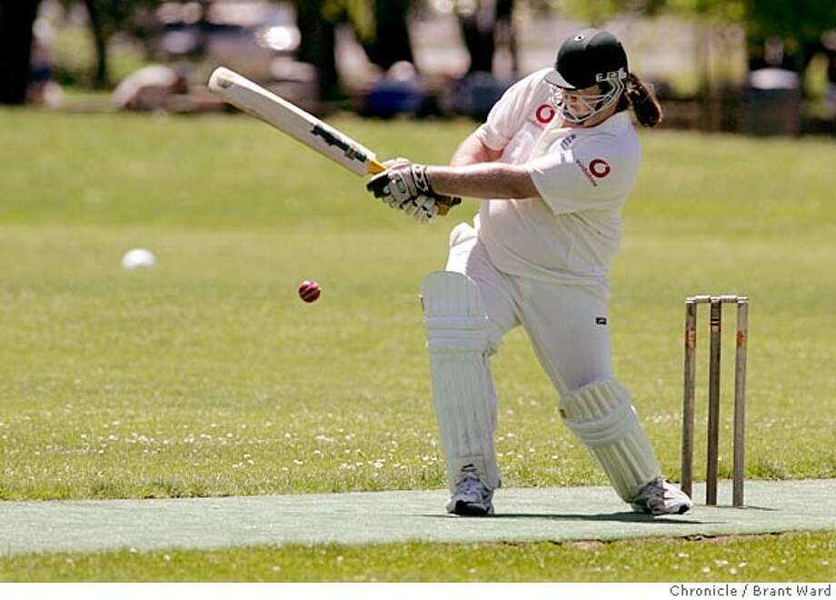 """Marin's big swinger, Paul Belfield, also called """"Hippo"""" did much of the scoring early on. Here he rips the ball for a run.  The ancient game of Cricket has seen a resurgence in the Bay Area. A game between the Marin Cricket Club and the United Cricket Club of Richmond was held at Piper Park in Larkspur Sunday.  Brant Ward 5/23/05 Photo: Brant Ward"""