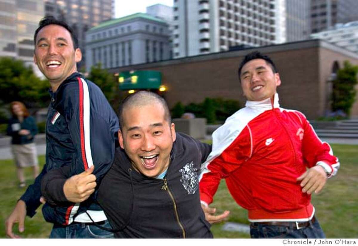 Steve Byrne (from left), Bobby Lee and Kevin Shea go for the funny bone in their