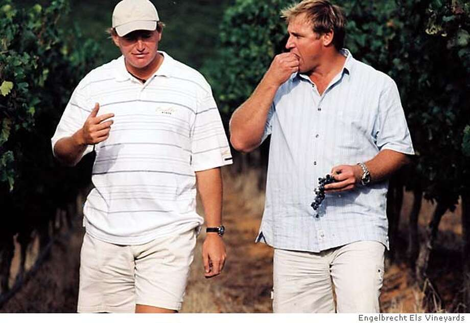 Pro golfer Ernie Els, left, and winemaker Jean Engelbrecht established Engelbrecht Els Vineyards on the slopes of Helderberg Mountain in the Stellenbosch region of South Africa. The 2002 Engelbrecht Els Ernie Els Stellenbosch Bordeaux-style blend is one of South Africa's finest red wines.