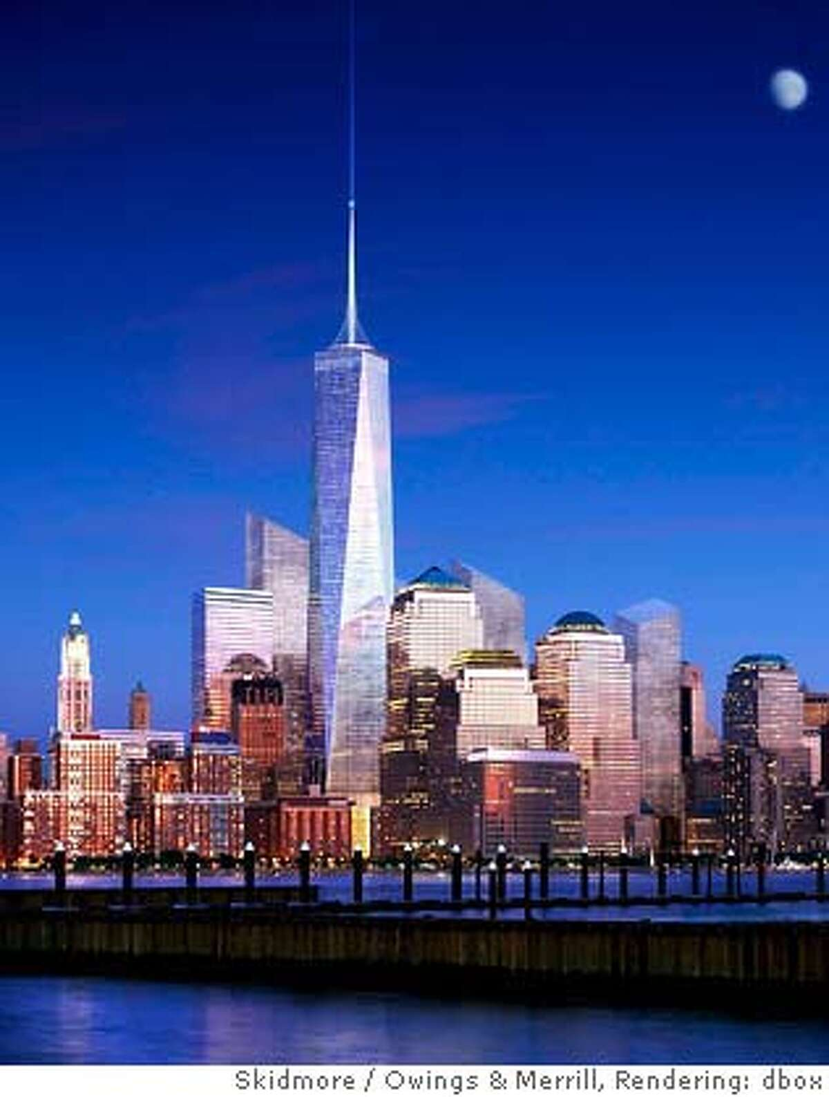(NYT6) UNDATED -- June 29, 2005 -- WTC-TOWER -- With one eye on terrorism and another on what has already been lost to terrorists, New York officials unveiled a redesigned Freedom Tower on Wednesday, June 29, 2005, seen in this artist rendering. The tower evokes - both deliberately and coincidentally - the sky-piercing twins it is meant to replace. (Skidmore, Owings & Merrill) XNYZ