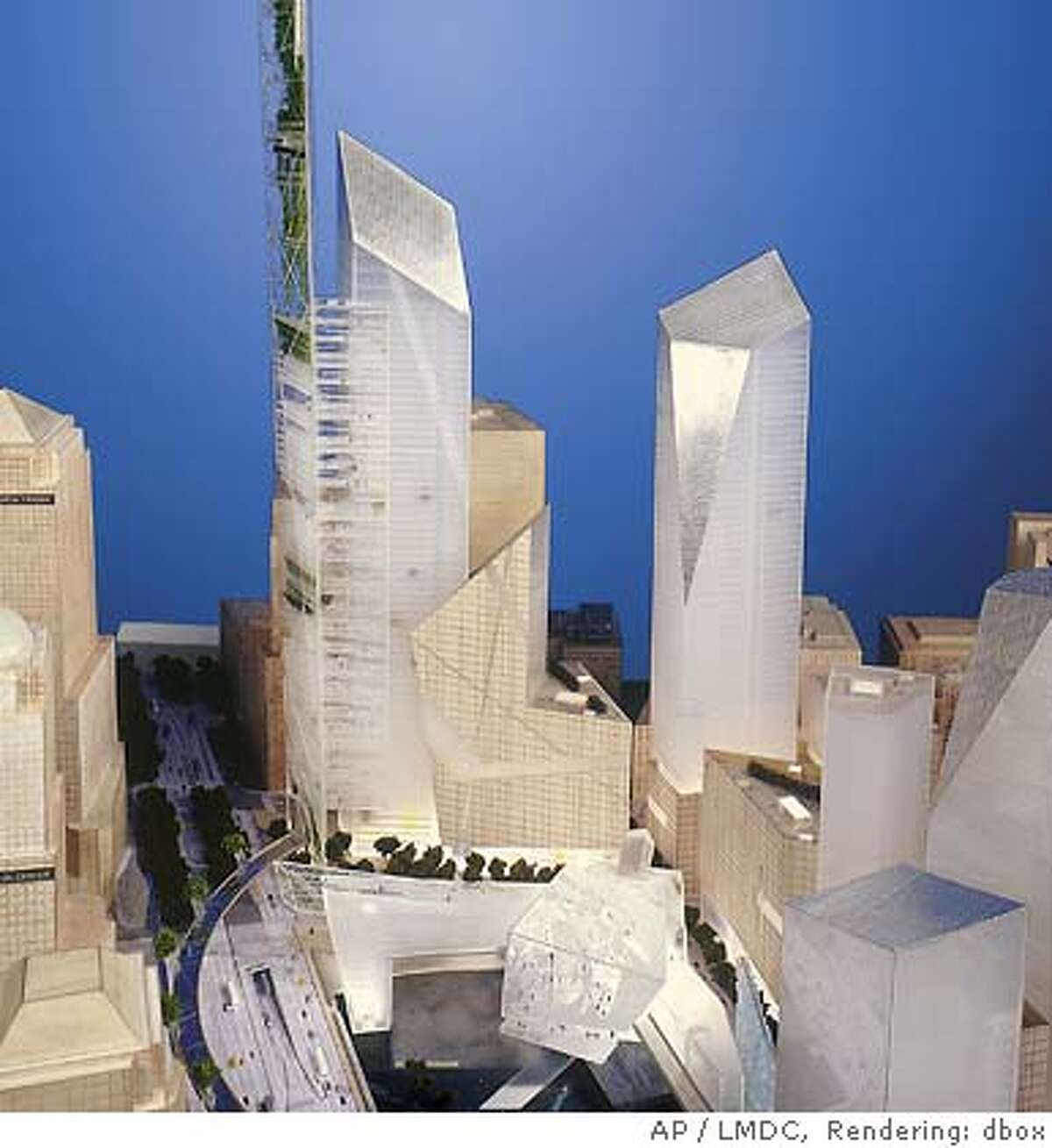 ** ONE OF SEVEN IMAGES CROPPED FOR UNIFORM SIZE ** This one of the proposed designs for the rebuilding of New York's World Trade Center, by Studio Daniel Libeskind, presented in New York Wednesday Dec. 18, 2002. Seven teams of architects from around the world presented their designs, beginning an intensive six weeks of review before a final plan is chosen to develop the 16-acre site and the surrounding neighborhood.(AP Photo/LMDC) CAT ONE OF SEVEN IMAGES CROPPED FOR UNIFORM SIZE