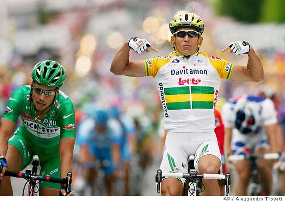 Robbie McEwen of Australia, right, reacts as he crosses the finish line to win the fifth stage of the Tour de France cycling race between Chambord, western France, and Montargis, south of Paris, Wednesday, July 6, 2005. (AP Photo/Alessandro Trovati) Photo: ALESSANDRO TROVATI