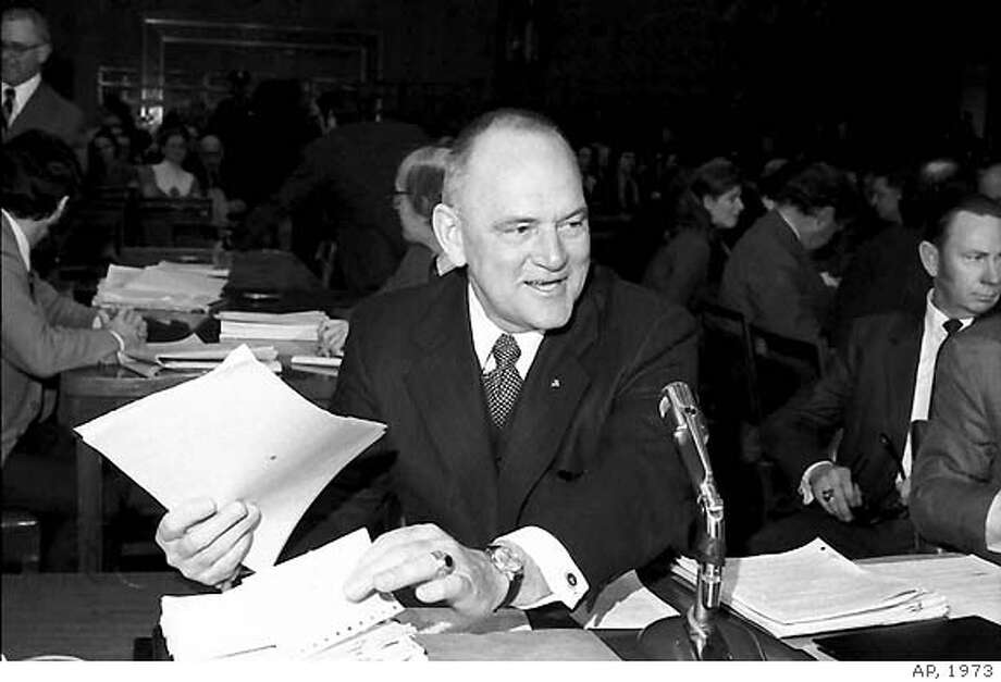 **FILE** Acting FBI director L. Patrick Gray goes through papers as he starts his second day of testimony before the Senate Judiciary Committee in Washington in this March 1973 file photo. L. Patrick Gray, whose yearlong stint as acting FBI director was marked by the Watergate break-in and the ensuing scandal that led to President Nixon's resignation, has died. He was 88. (AP Photo/FIle)