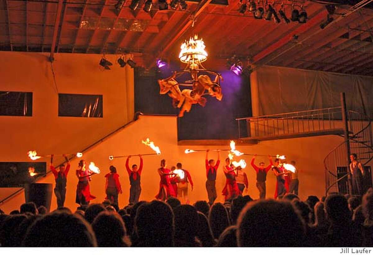 Romeo and Juliet, A Fire Ballet, at the Crucible in West Oakland, includes several dozen performers, aerial and break dancing and martial arts amid constant combustion. Photo by Jill Laufer