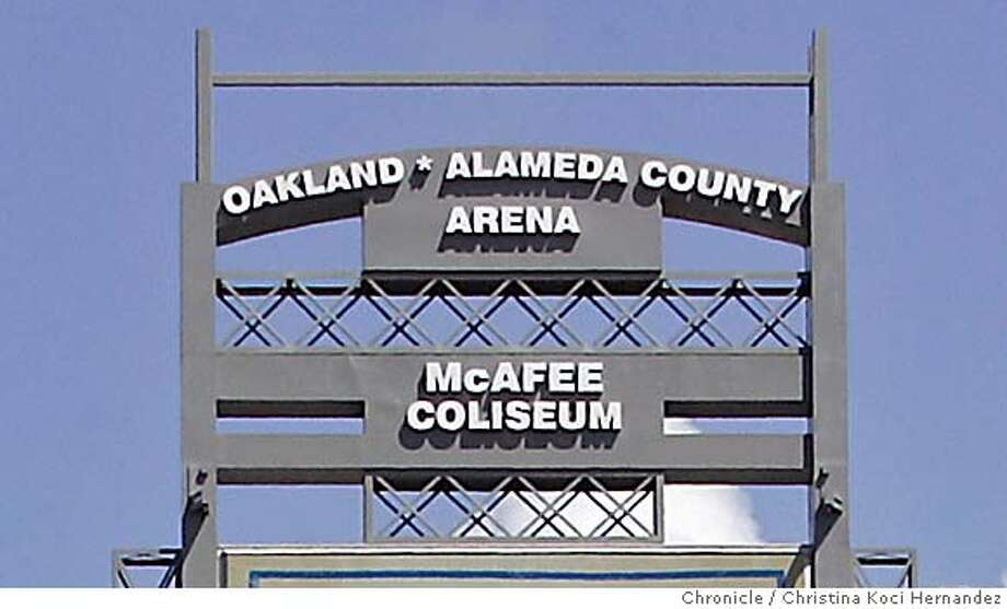 CHRISTINA KOCI HERNANDEZ/CHRONICLE  sports doing a story on why the warriors can't come up with a naming rights deal for the arena in oakland. need a photo of the big sign outside the arena, right next to the busy freeway. it lists the McAfee Coliseum and right above that it simply says arena, because there's no naming rights deal for the arena. Photo: CHRISTINA KOCI HERNANDEZ