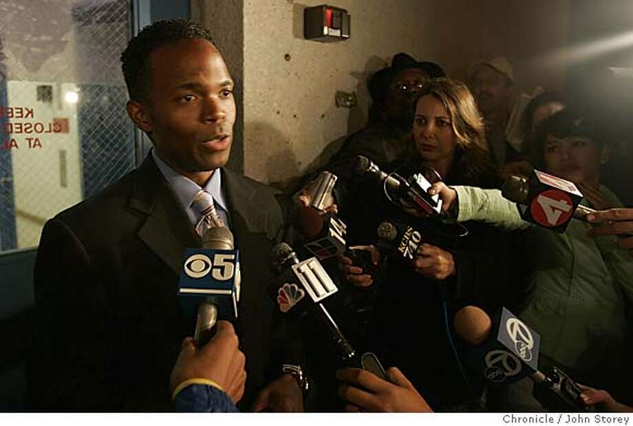 BART Chief spokesperson, Linton Johnson, speaks to the press about the negotitions. Negotiations at BART headquarters over a new contract for BART employees.  John Storey Oakland Event on 7/5/05 Photo: John Storey