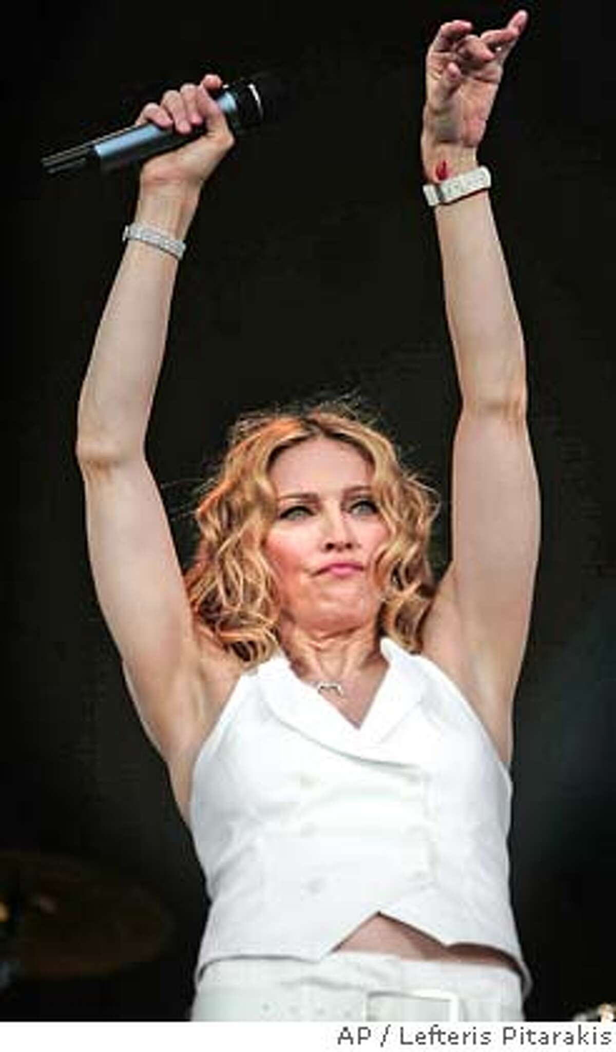 Madonna, performs at the Live 8 concert in Hyde Park, London, Saturday July 2, 2005. The concert is part of a series of free concerts being held around the world designed to press leaders of the rich G8 countries to help impoverished African nations. (AP Photo/Lefteris Pitarakis)