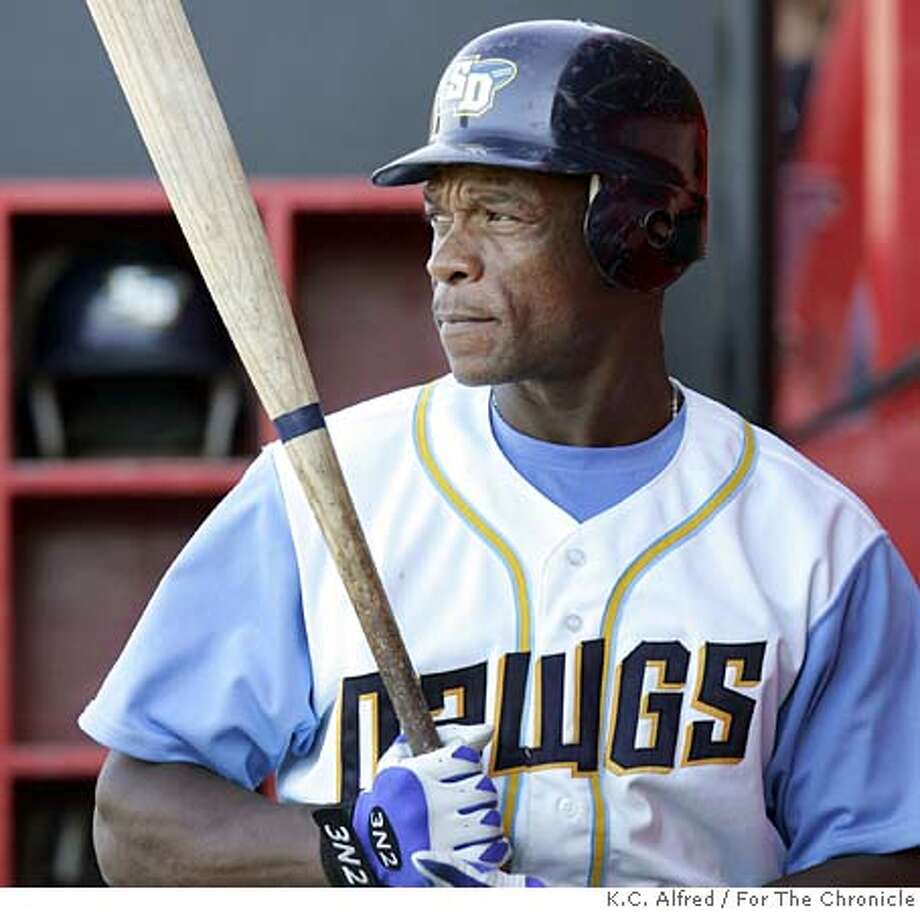 San Diego Surf Dawgs' Rickey Henderson gets ready to bat during a game against Chico on Wednesday, June 29, 2005. After 25 years in the major leagues, Henderson is playing in the Golden Baseball League. Photo by K.C. Alfred/For The Chronicle 619-733-9804  kc.alfred@uniontrib.com Photo: K.C. Alfred/For The Chronicle