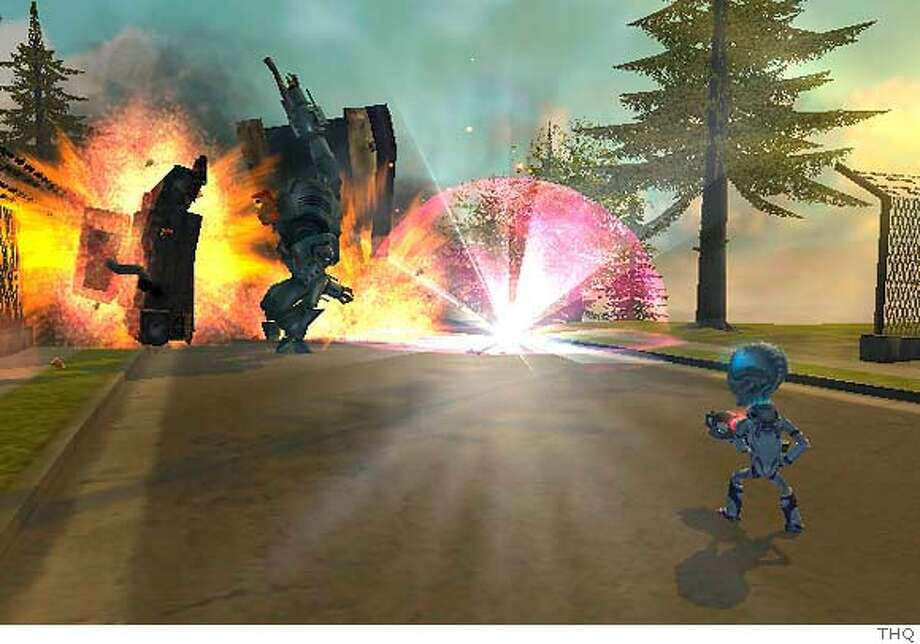 "This undated image from the video game ""Destroy All Humans!"" provided by its publisher,THQ, shows Crypto Sporidium 137, an alien invader who must harvest human DNA in order to save his species. An action game that parodies 1950s-era red scare paranoia, ""Destroy All Humans!"" requires players to demolish entire city blocks and use an arsenal of lasers and anal probes in order to succeed. (AP Photo/THQ)"