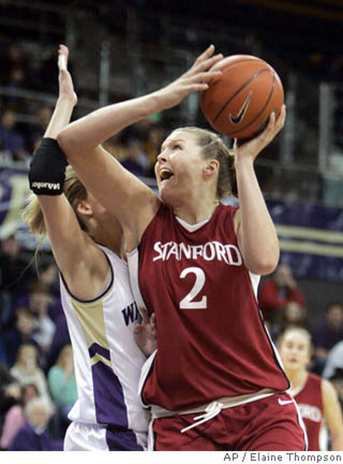 Stanford's Jayne Appel (2) shoots past Washington's Maggie O'Hara in the first half of a basketball game, Thursday, Jan. 11, 2007, in Seattle. (AP Photo/Elaine Thompson) Photo: Elaine Thompson