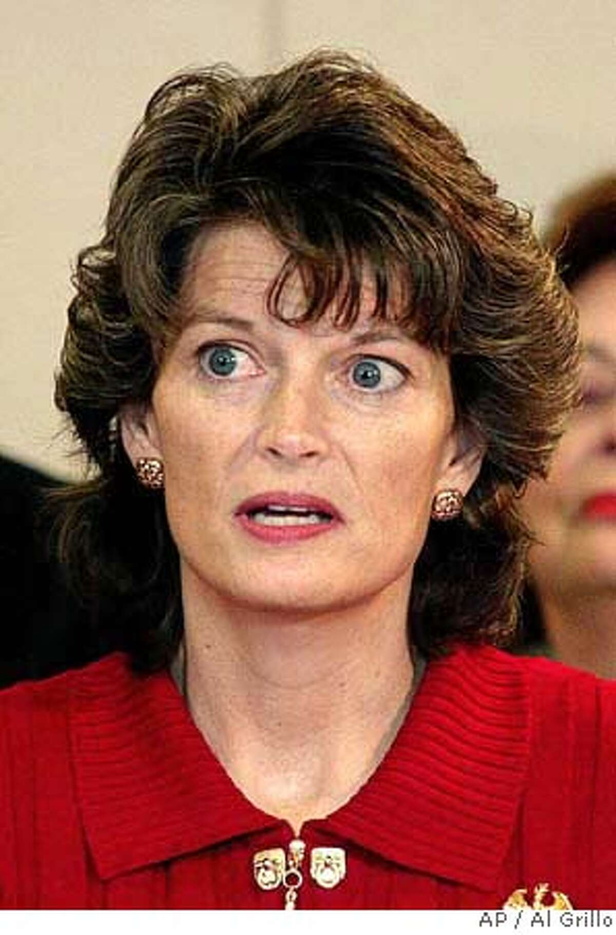 Alaska state Rep. Lisa Murkowski, R-Anchorage, is sworn in as Alaska's new U.S. senator, Friday, Dec. 20, 2002, in Anchorage, Alaska. Murkowski was appointed by her father, Gov. Frank Murkowski, to serve the remaining two years of his Senate term after he gave up his seat to become governor. The 45-year-old lawyer and mother of two was re-elected last month to a third term in the Alaska Legislature and had been selected as House Majority leader. The governor said his decision was based solely on his daughter's qualifications. (AP Photo/Al Grillo) Ran on: 10-04-2004 Sen. Tom Daschle, top, is getting closer to Bush; Erskine Bowles, above, is distancing himself from Clinton. Ran on: 10-04-2004 Sen. Tom Daschle, top, is getting closer to Bush; Erskine Bowles, above, is distancing himself from Clinton. #######421829666