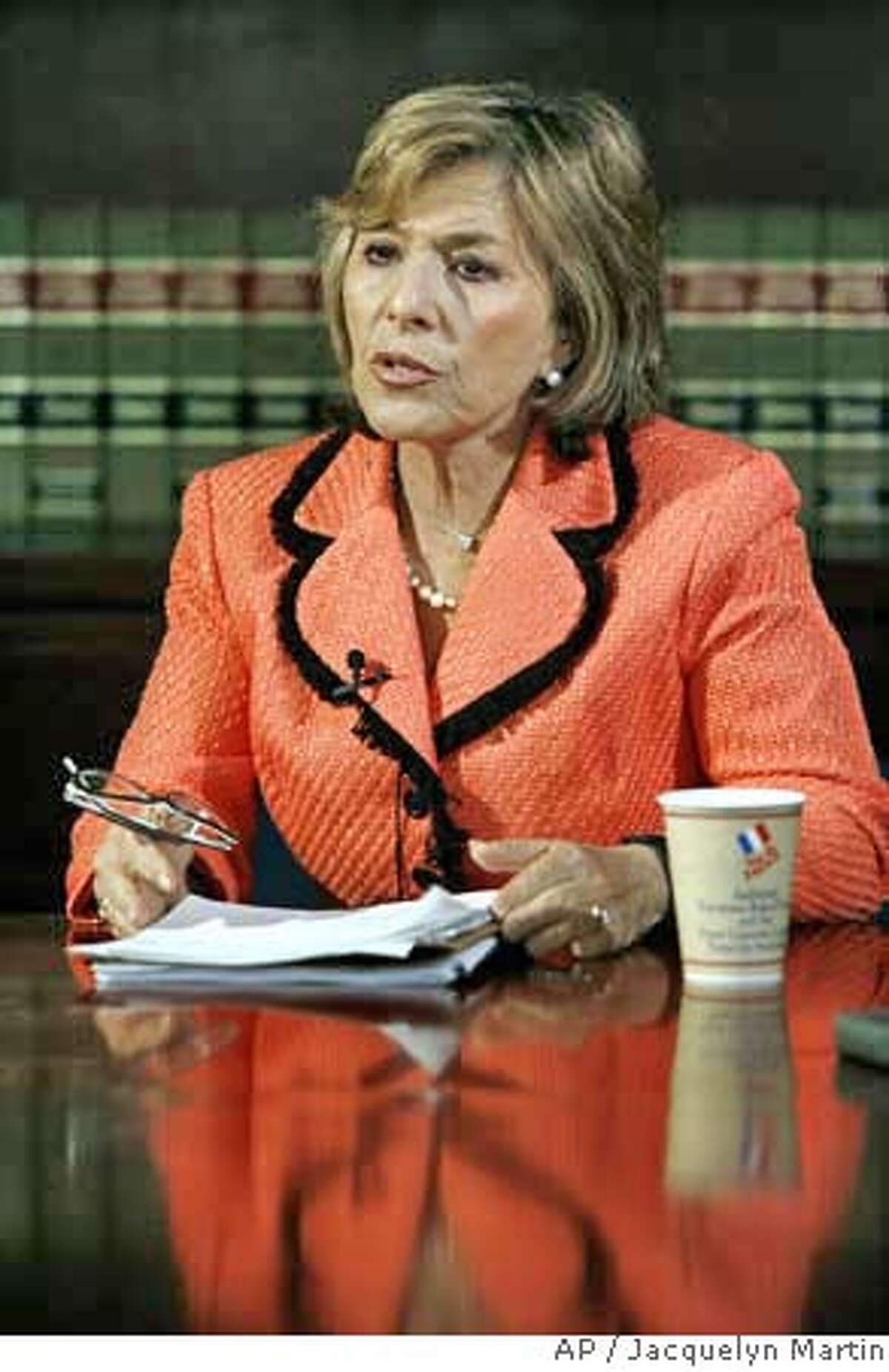 Sen. Barbara Boxer, D-Calif., the incoming chairman of the Senate Environment Committee, takes part in an interview with The Associated Press in Washington, Tuesday, Dec. 5, 2006. (AP Photo /Jacquelyn Martin)