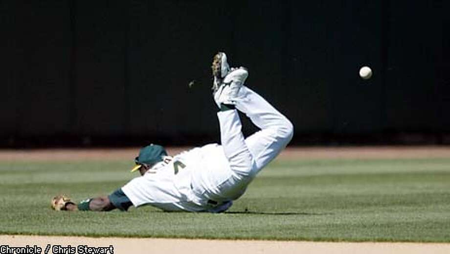 The Oakland A's Miguel Tejada can't get to a single hit by the Seattle Mariners Ichiro Suzukito drive in Greg Colbrun in the third inning. The A's lost to the Mariners 7-6 in extra innings, Thursday, April 3, 2003 at Network Associates Coliseum in Oakland. CHRIS STEWART/SAN FRANCISCO CHRONICLE Photo: CHRIS STEWART