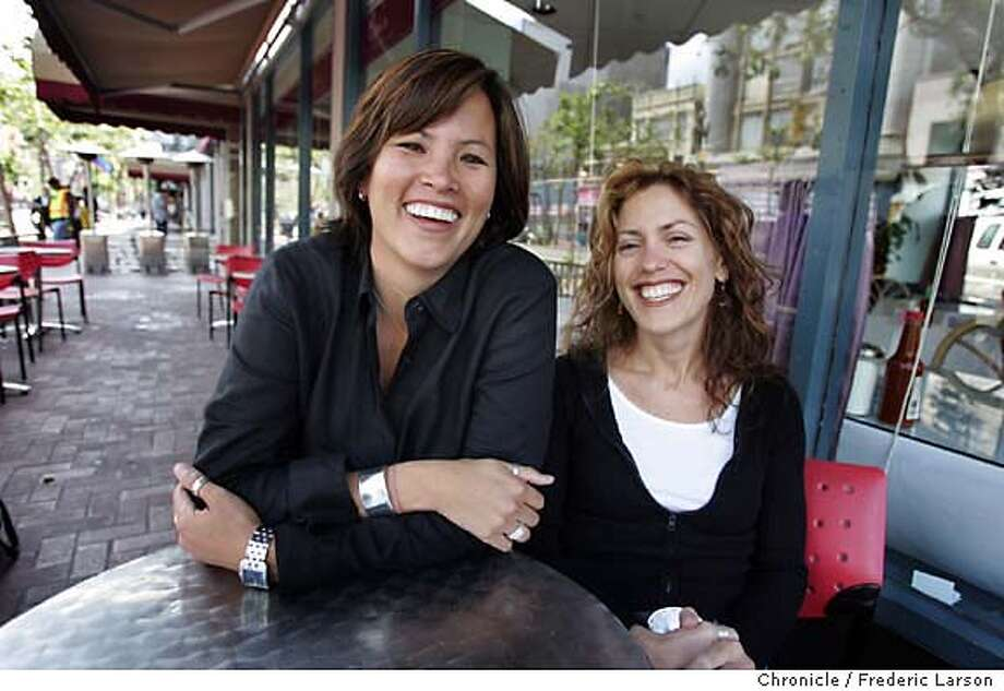 COOKSNIGHT03_041_fl.jpg Erin Quon (left) and her partner Kim Konecny of E.K. Food Productions review Opi's Grill & Cafe at 1020 Market Street at Golden Gate and Sixth, San Francisco, Ca.  6/24/05 San Francisco CA Frederic Larson The San Francisco Chronicle Photo: Frederic Larson