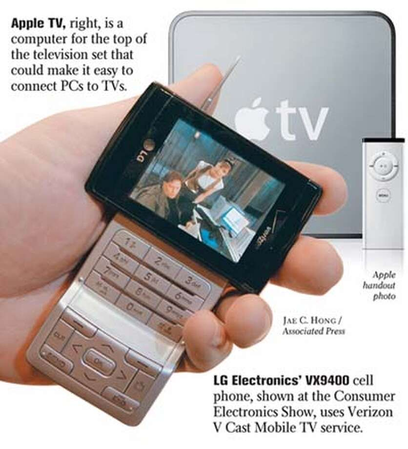 Apple TV, right, is a computer for the top of the television set that could make it easy to connect PCs to TVs. LG Electronics' VX9400 cell phone, left, shown at the Consumer Electronics Show, uses Verizon V Cast Mobile TV service. Chronicle Graphic