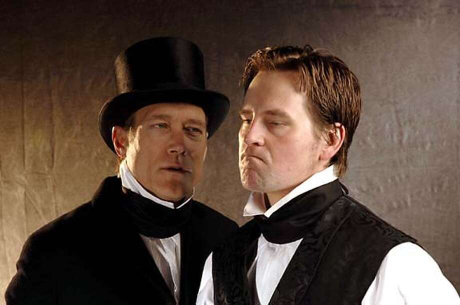 Nicholas Nickleby (Stephen Barker Turner) is confronted by his uncle, Ralph Nickleby (James Carpenter), in a scene from THE LIFE AND ADVENTURES OF NICHOLAS NICKLEBY, PARTS ONE AND TWO, playing at the Bruns Amphitheater Jul 13 - Sep 18.  photo credit: Kevin Berne