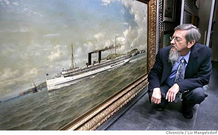 coulter012_lm.JPG Event on 6/29/05 in San Francisco.  Maritime park librarioan David Hull looks at an oil painting of the Harvard Steamer by William Coulter. The SF National Historical Maritime park is mounting a search for the works of William Coulter, California's premier maritime artist. Liz Mangelsdorf / The Chronicle MANDATORY CREDIT FOR PHOTOG AND SF CHRONICLE/ -MAGS OUT Photo: Liz Mangelsdorf