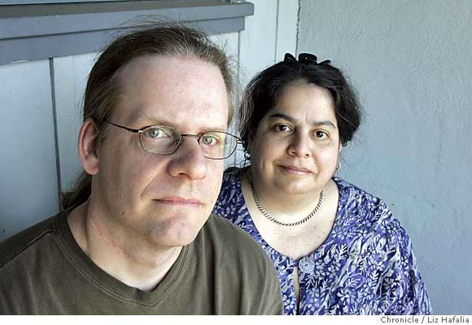 """DOWNINGSTREET_060_LH.JPG Outraged by what's now known as the """"Downing Street Memo"""" and the mainstream U.S. news media's scant initial coverage, a Sunnyvale couple, Bob and Gina Fesmire, created downingstreetmemo.com, a Web site dedicated to publicizing the series of leaked Blair Administration memos now totalling seven. Photographed by Liz Hafalia on 6/28/05 in Sunnyvale, CA Creditted to the San Francisco Chronicle/Liz Hafalia Photo: Liz Hafalia"""