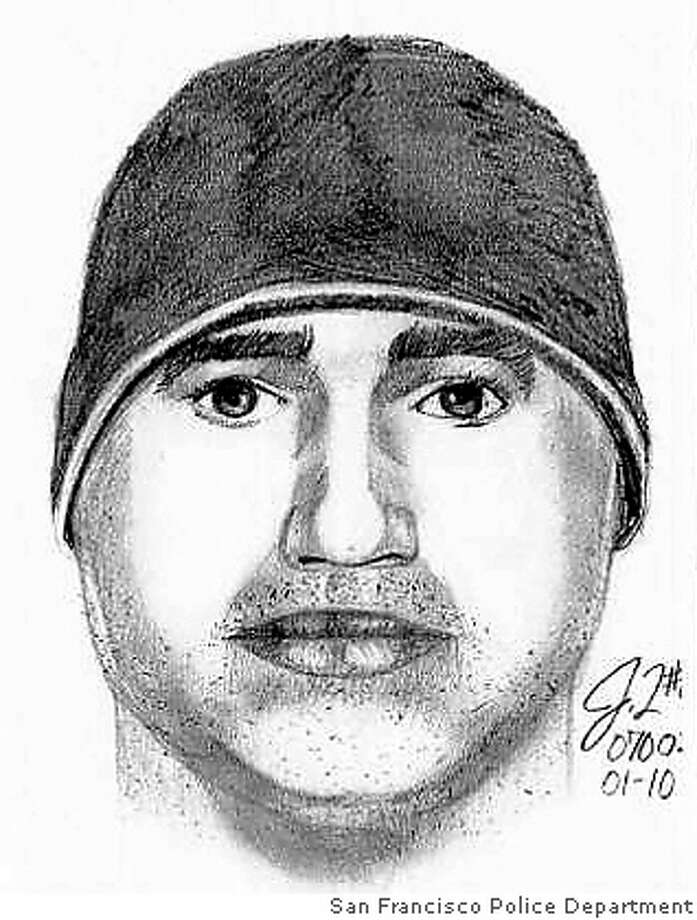"A police sketch shows the suspect in a carjacking incident in which a woman picked up the suspect and another passenger at the ""casual commuter"" location in Hercules about 8 a.m. Tuesday. Sketch by San Francisco Police Department"