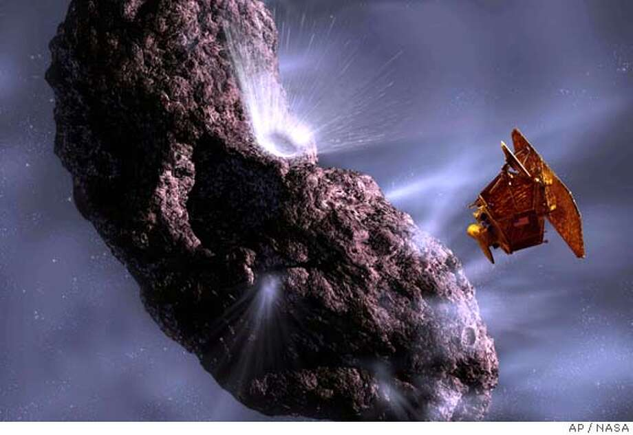 (NYT11) UNDATED -- June 27, 2005 -- SCI-DEEP-IMPACT-1 -- A rendering by artist Pat Rawlings, released by NASA, showing the Deep Impact spacecraft's projected encounter with comet Tempel 1. The spacecraft is about to make an ambitious attempt to dissect a comet by slamming into it and blowing some of its innards into space for all to see. (NASA, Pat Rawlings via The New York Times) Ran on: 07-01-2005 Ran on: 07-01-2005  Photo caption XNYZ Photo: NASA