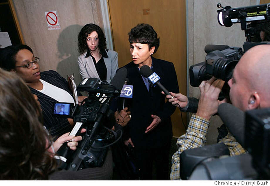 Teresa Caffese, attorney for LaShuan Harris, talks to the media, outside the courtroom at the San Francisco Hall of Justice about her defendant in San Francisco, CA, on Tuesday, January, 9, 2007. Harris was convicted today of three counts of assault on a child causing death for throwing her three young sons off a San Francisco pier to their deaths in 2005. photo taken: 1/9/07  Darryl Bush / The Chronicle ** Teresa Caffese (cq) Photo: Darryl Bush