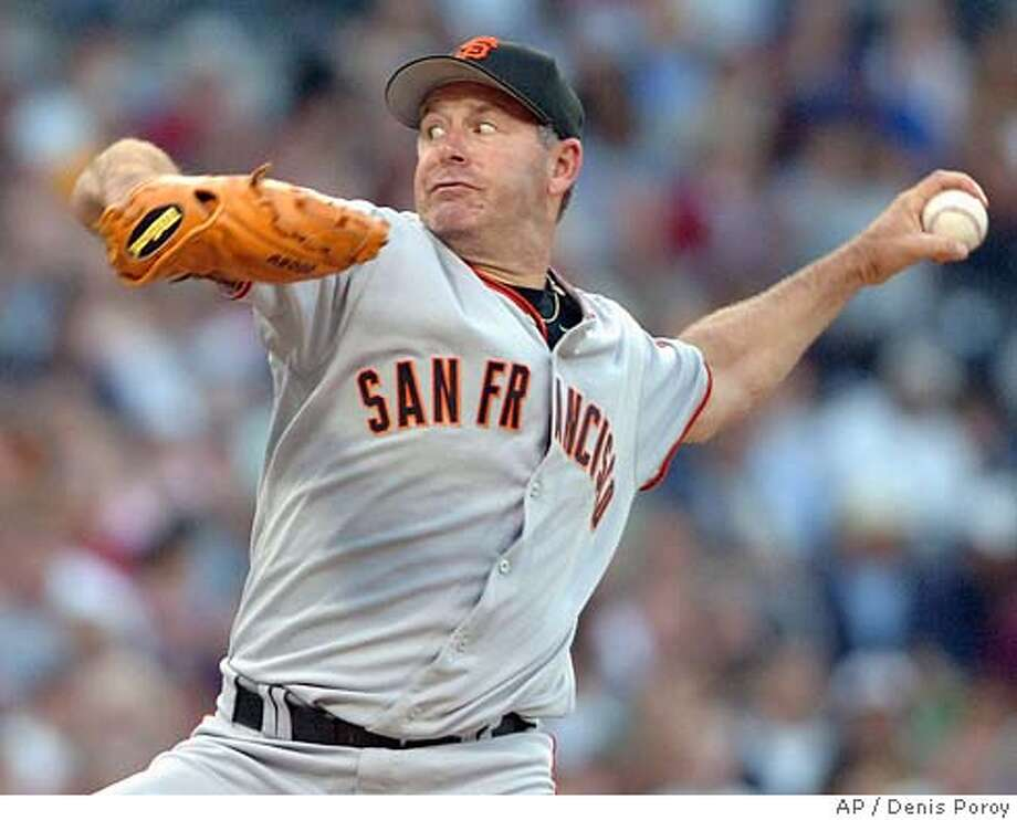 San Francisco Giants pitcher Jeff Fassero delivers a pitch during the second inning against the San Diego Padres Saturday, July 2, 2005 in San Diego. (AP Photo/Denis Poroy) Photo: DENIS POROY