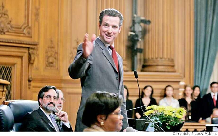 Mayor Gavin Newsom congratulates Supervisor Bevon Duffy on not only his new seat as supervisor but also on becoming a dad,during the swearing in January 8, 2007, in San Francsico, Ca. It is the first time in two years Newsom has stepped into the city's legislative chamber, Monday January 8, 2007, in San Francisco, Ca. (Lacy Atkins/The Chronicle) MANDATORY CREDITFOR PHOTGRAPHER AND SAN FRANCISCO CHRONICLE/ -MAGS OUT Photo: Lacy Atkins