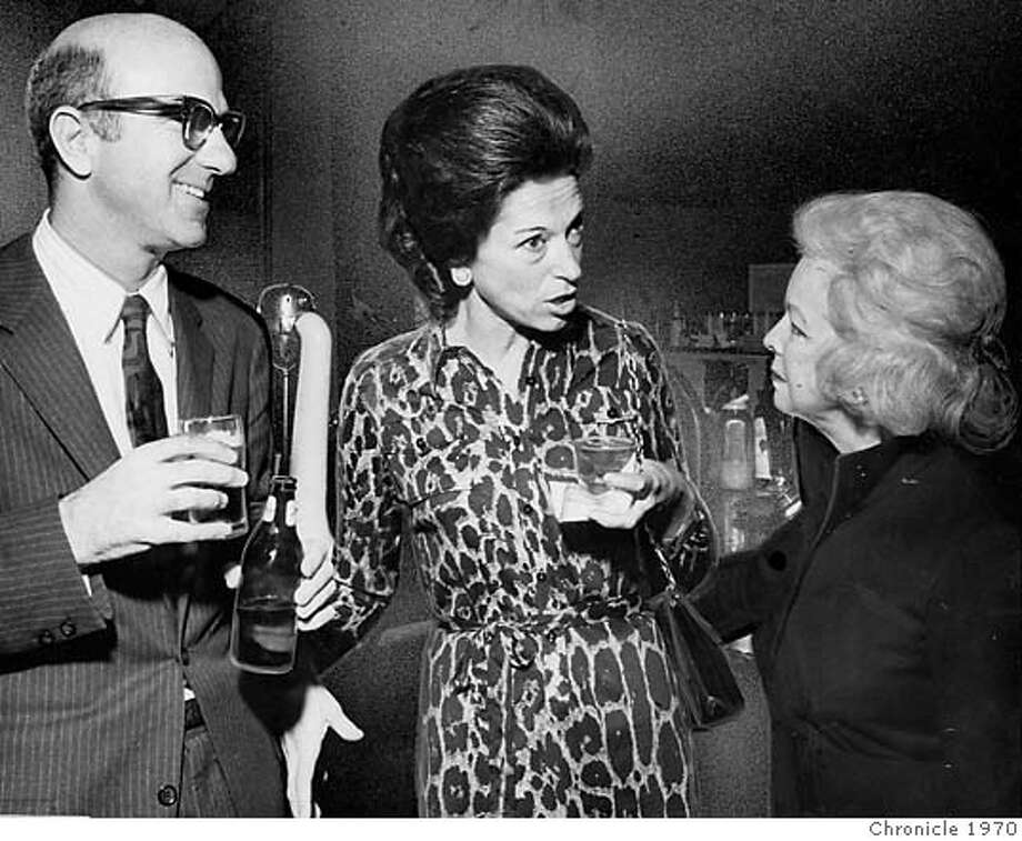 Gap founder Donald Fisher and his wife (no name given, just Mrs. Fisher) with Mrs. Dan London at unidentified function, dated Nov. 16, 1970. Chronicle file photo.