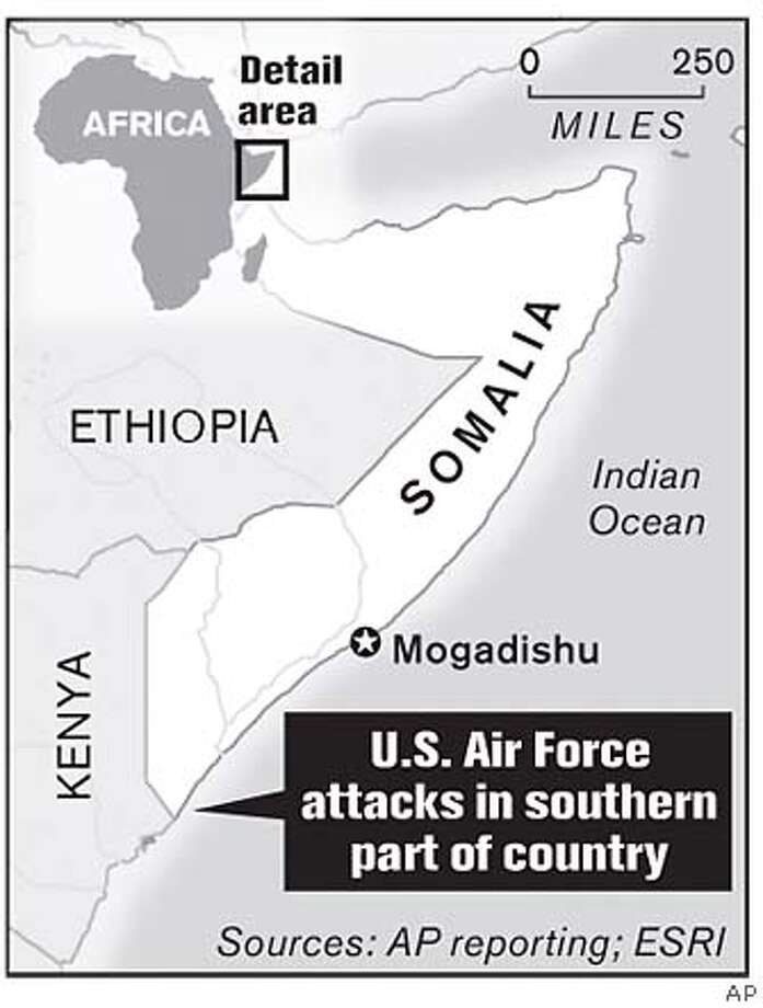 U.S. Air Force Attacks in Southern Part of Country. Associated Press Graphic