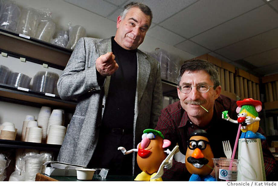 "(L to R) Steve Levine and Allen King co-founders of Excellent Packaging and Supply, a company that produces ""Spudware"", biodegradable food packaging and flatware made of potato starch rather than plastic, pose for a portrait in the sample room of their Richmond office on Tuesday December 12, 2006. Kat Wade/The Chronicle Ran on: 01-07-2007  Founders of Excellent Packaging & Supply Steve Levine (left) and Allen King offer a complete line of biodegradable products that includes food containers and flatware. Their Spudware utensils made from potato starch are beginning to take the place of plastic knives, forks and spoons as concern for the environment grows.  Ran on: 01-06-2007 Ran on: 01-07-2007  Founders of Excellent Packaging & Supply Steve Levine (left) and Allen King offer a complete line of biodegradable products that includes food containers and flatware. Their Spudware utensils made from potato starch are beginning to take the place of plastic knives, forks and spoons as concern for the environment grows. Photo: Kat Wade"