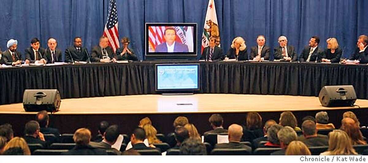 GOV_HEALTHCARE_0197_KW_.jpg (L to R) A panel including a variety of people with a vested interest in the California Health Care System Robert K. Ross, M.D., president and CEO of The California Endowment, Steven A. Burd Chairman and CEO Safeway Inc., Peter Harbage, Senior Associate, health program of the New America Foundation, Anmol Singh Mahal, M.D., president of the California Medical Association, Anthony Wright, executive director of Health Access California, Jay M. Gellert, president and CEO of Health Net, Inc., Tyrone Freeman president of local 6434, United Long Term Care Workers, John Ramey, the Governor's Senior Health Policy Consultant, Kim Belsh�, Secretary of California Health and Human Services Agency, Governor Arnold Schwarzenegger (on screne VIA SATELITE due to his broken leg and restrictions on traveling, Herb Schultz, the Governor's Senior Health Policy advisor, Connie Conway, Tulare County Supervisor, Allan Zaremberg, president and CEO of the California Chamber of Commerce, Joel Fox president of Small Business Action Committee, Hector Ramirez, chair First 5 California Commission, Gloria L. Austin, CEO of Brown & Toland, Scott Hauge, president and founder of Small Business California and Andrew B. Leeka, president and CEO of Good Samaritan Hospital in Los Angeles listen as the Governor announces his health care reforms plans via satelite at the California Department of Health Services auditorium in Sacramento Monday January 7, 2007. Kat Wade/The Chronicle Mandatory Credit for San Francisco Chronicle and photographer, Kat Wade, Mags out