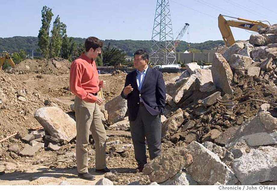 Corte Madera, Ca. San Clemente ( St. ?)  Housing30.  A new constructionsite for affordable housing in Corte Madera.  Vice Mayor Jin S. Yang ( blue blazer) and project manager, Andy Blauvelt discuss matters at the building site.  Note: Robert Pendoley, declined haveing his photo taken. Photo: John O'Hara