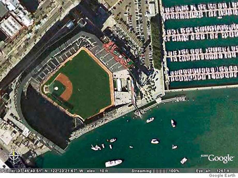 A view of SBC Park as seen in the Google Earth application. This is at an eye altitude of 1267 feet.