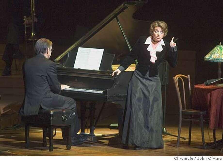 """Davies Symphony Hall.  """"Of Thee I Sing"""", Yiddish Theater.  Michael Tilson thomas ( piano) Judy Blazer ( right)  Photo/John O'hara Photo: John O'Hara"""